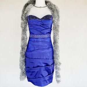 Embellished Satin Formal Evening Dress